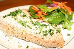 clean eating recipe, almond crusted salmon