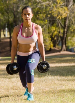 dumbbell lunges upright