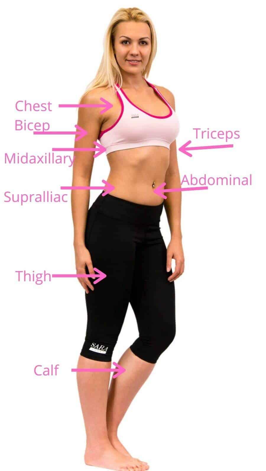 body fat measurement locations chart